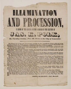 1844 James K. Polk Election Broadside Lancaster PA